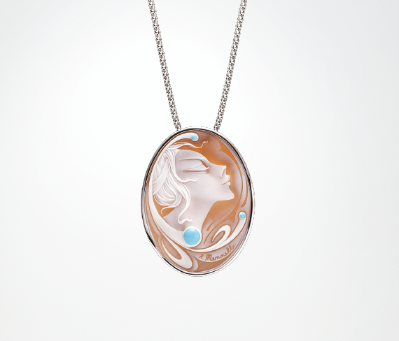 Gem Pendant / White Gold, Cameo, Turquoise