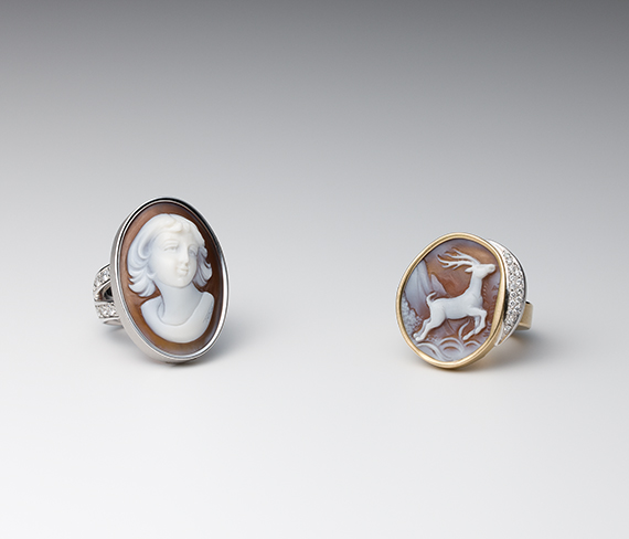 Gem Ring / White Gold, Yellow Gold, Cameo, Diamond